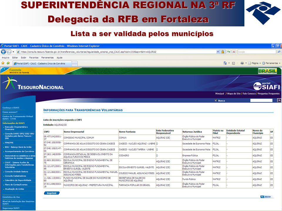 11 Lista a ser validada pelos municípios SUPERINTENDÊNCIA REGIONAL NA 3ª RF Delegacia da RFB em Fortaleza