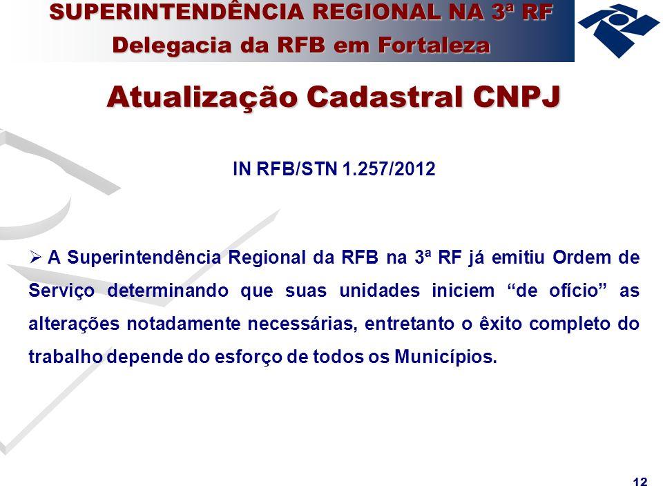 12 IN RFB/STN 1.257/2012 A Superintendência Regional da RFB na 3ª RF já emitiu Ordem de Serviço determinando que suas unidades iniciem de ofício as al