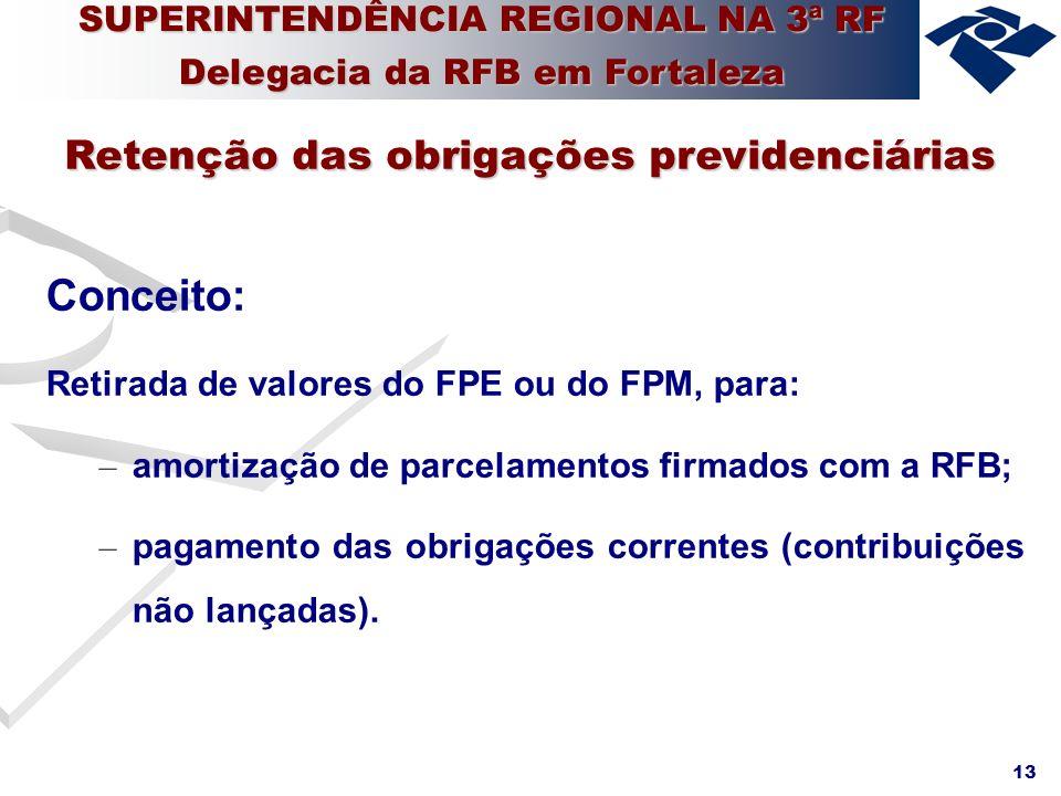 13 Conceito: Retirada de valores do FPE ou do FPM, para: – amortização de parcelamentos firmados com a RFB; – pagamento das obrigações correntes (cont