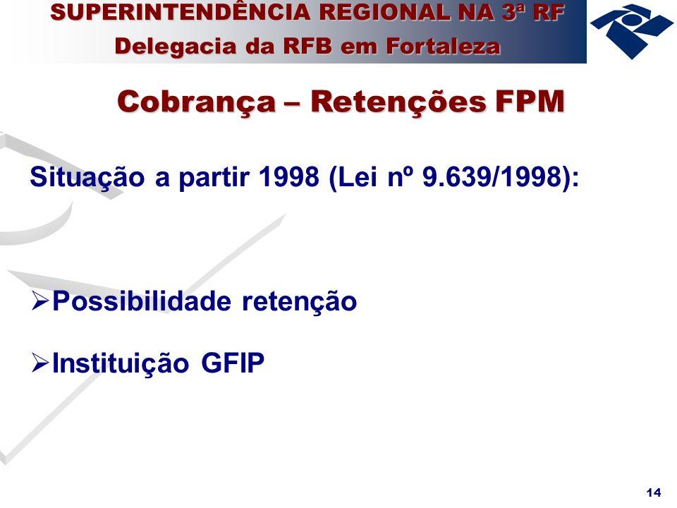 14 Situação a partir 1998 (Lei nº 9.639/1998): Possibilidade retenção Instituição GFIP Cobrança – Retenções FPM SUPERINTENDÊNCIA REGIONAL NA 3ª RF Del
