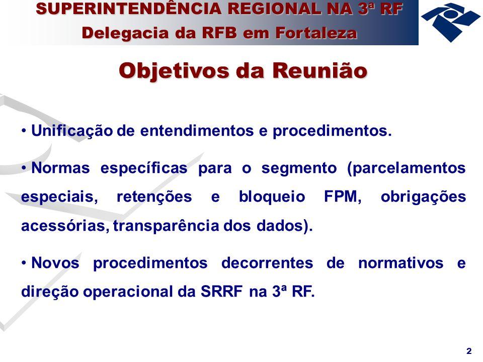 3 Atualização Cadastral CNPJ Sistemática de Retenção de valores no FPM Monitoramento da arrecadação e controle de indícios de irregularidade Sisobra Principais Assuntos SUPERINTENDÊNCIA REGIONAL NA 3ª RF Delegacia da RFB em Fortaleza
