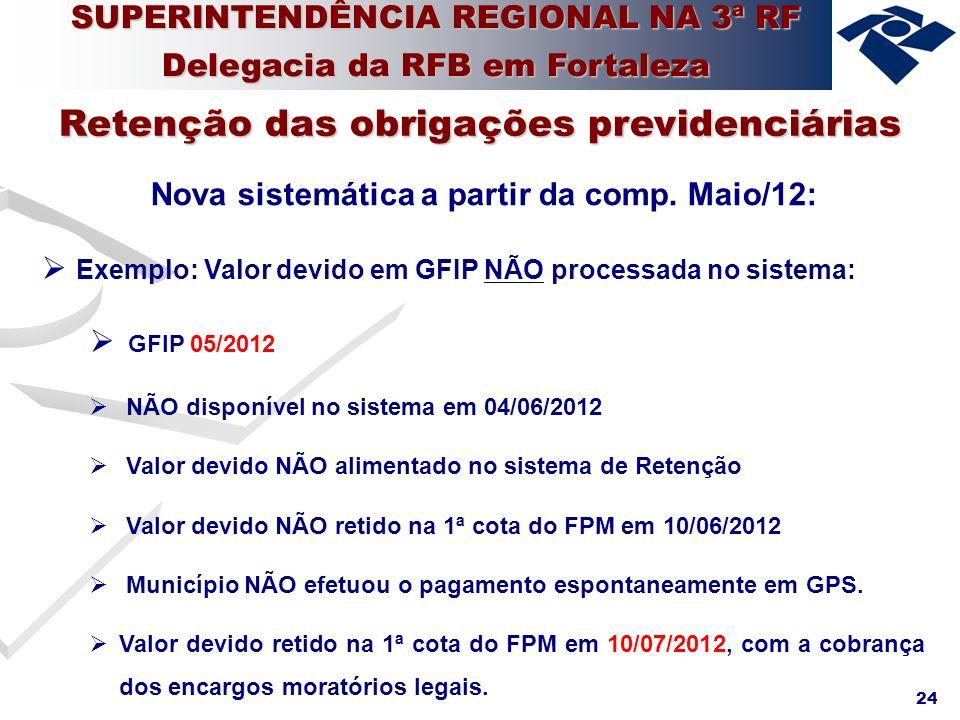 24 Nova sistemática a partir da comp. Maio/12: Exemplo: Valor devido em GFIP NÃO processada no sistema: GFIP 05/2012 NÃO disponível no sistema em 04/0