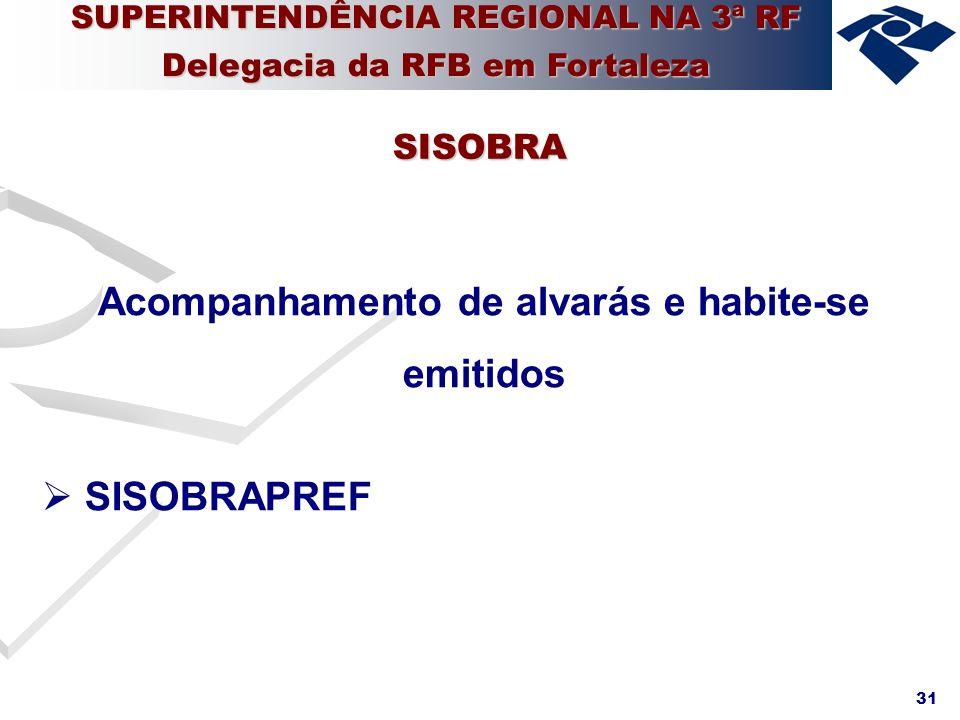 31 Acompanhamento de alvarás e habite-se emitidos SISOBRAPREF SISOBRA SUPERINTENDÊNCIA REGIONAL NA 3ª RF Delegacia da RFB em Fortaleza