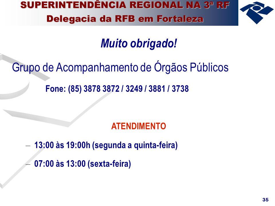 35 Muito obrigado! Grupo de Acompanhamento de Órgãos Públicos Fone: (85) 3878 3872 / 3249 / 3881 / 3738 ATENDIMENTO – 13:00 às 19:00h (segunda a quint