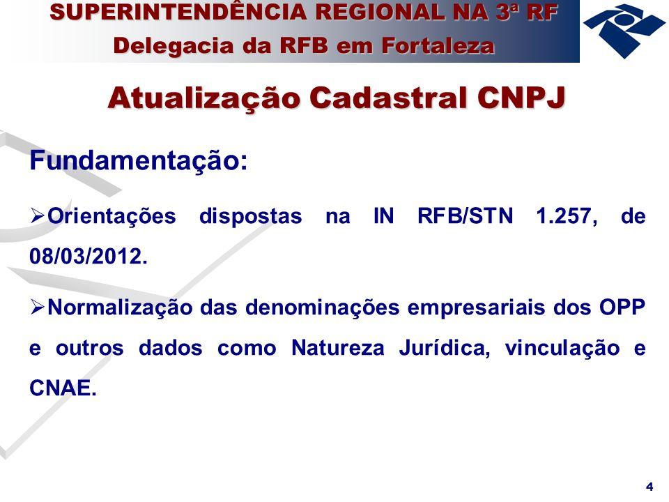 4 Fundamentação: Orientações dispostas na IN RFB/STN 1.257, de 08/03/2012. Normalização das denominações empresariais dos OPP e outros dados como Natu