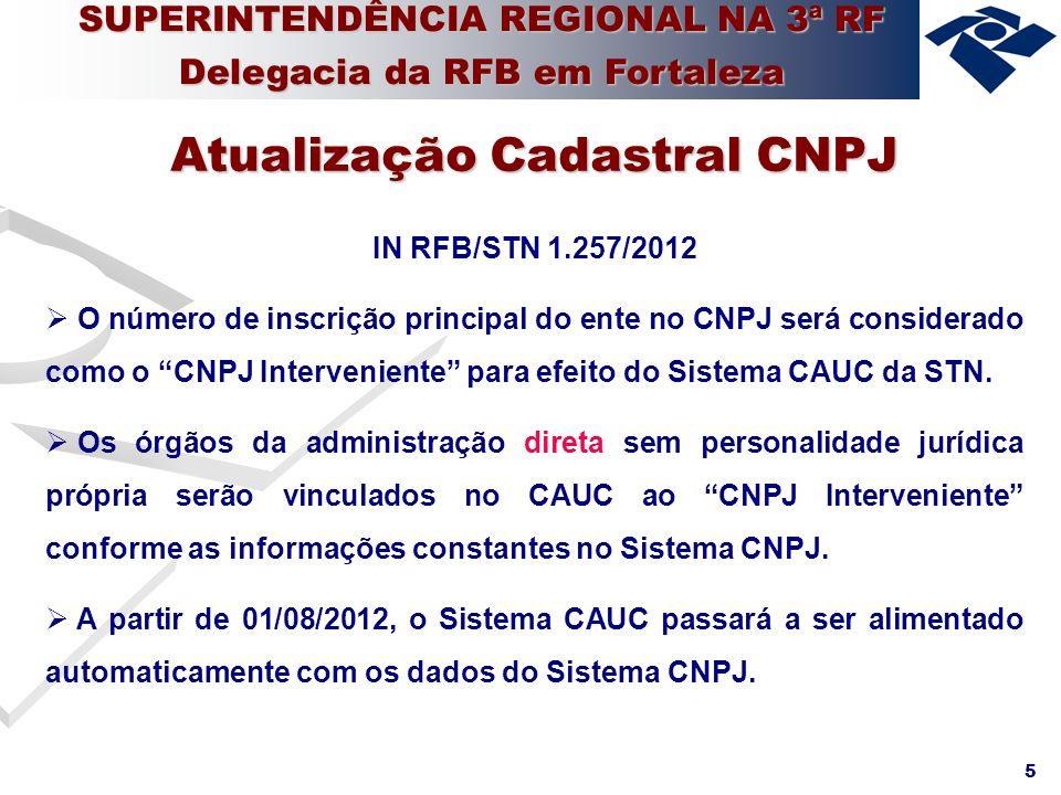 6 IN RFB/STN 1.257/2012 STN disponibilizou no site um mapeamento dos dados atualmente trabalhados pelo CAUC (Lista de CNPJ) e dados originados do Sistema CNPJ (Lista de inscrições no CNPJ).