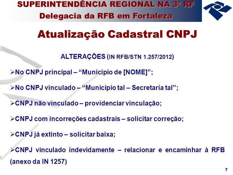 7 ALTERAÇÕES ( IN RFB/STN 1.257/2012 ) No CNPJ principal – Município de [NOME]; No CNPJ vinculado – Município tal – Secretaria tal; CNPJ não vinculado