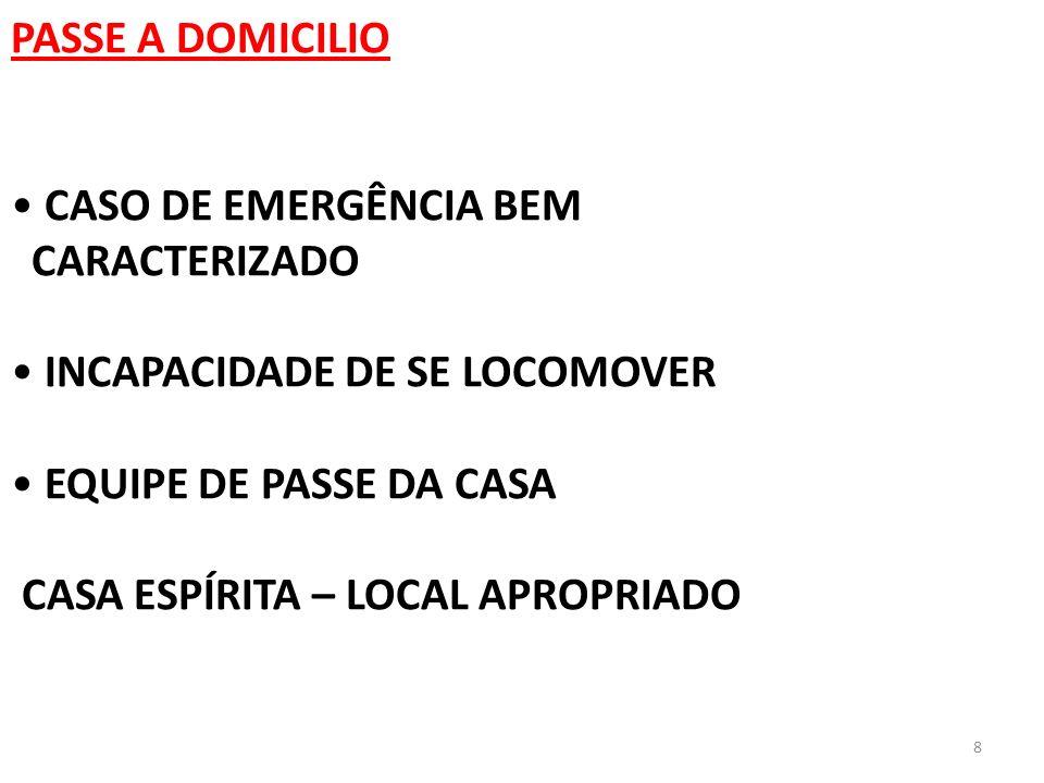 8 PASSE A DOMICILIO CASO DE EMERGÊNCIA BEM CARACTERIZADO INCAPACIDADE DE SE LOCOMOVER EQUIPE DE PASSE DA CASA CASA ESPÍRITA – LOCAL APROPRIADO