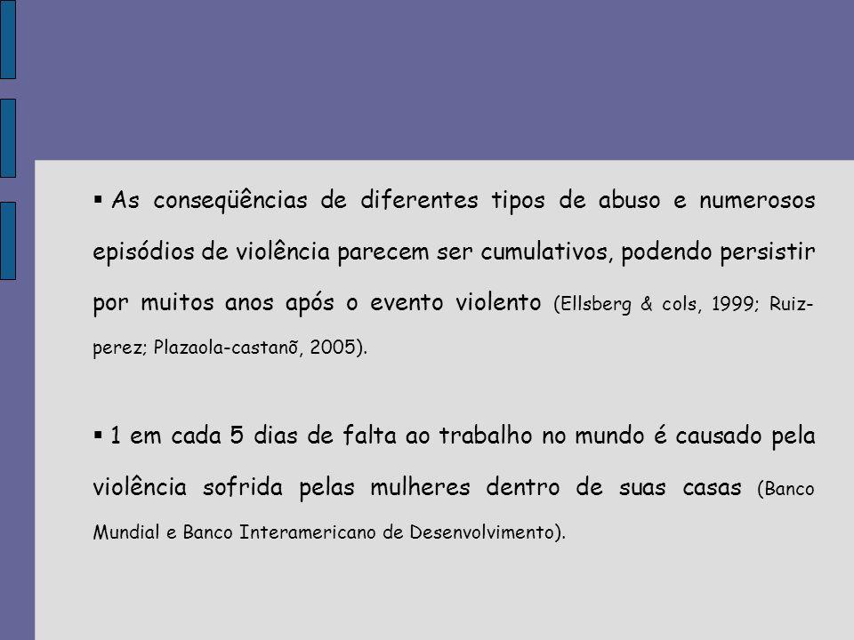 Heise (1994): violência doméstica e estupro são considerados a sexta causa de anos de vida perdidos por morte ou incapacidade física em mulheres de 15 a 44 anos - mais que todos os tipos de câncer, acidentes de trânsito e guerras.