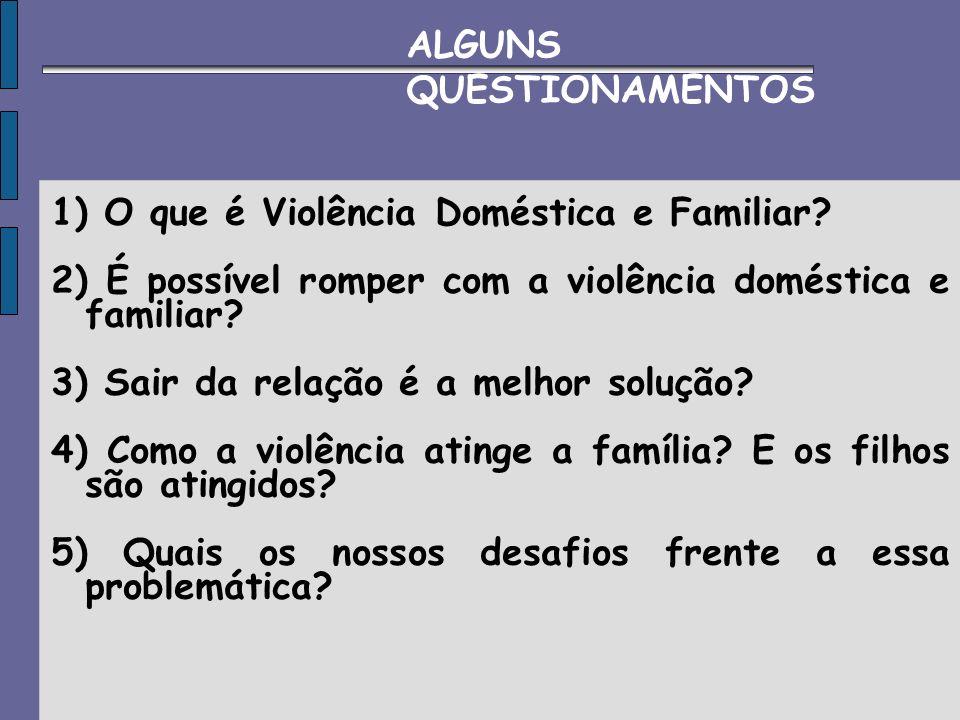 1) O que é Violência Doméstica e Familiar? 2) É possível romper com a violência doméstica e familiar? 3) Sair da relação é a melhor solução? 4) Como a