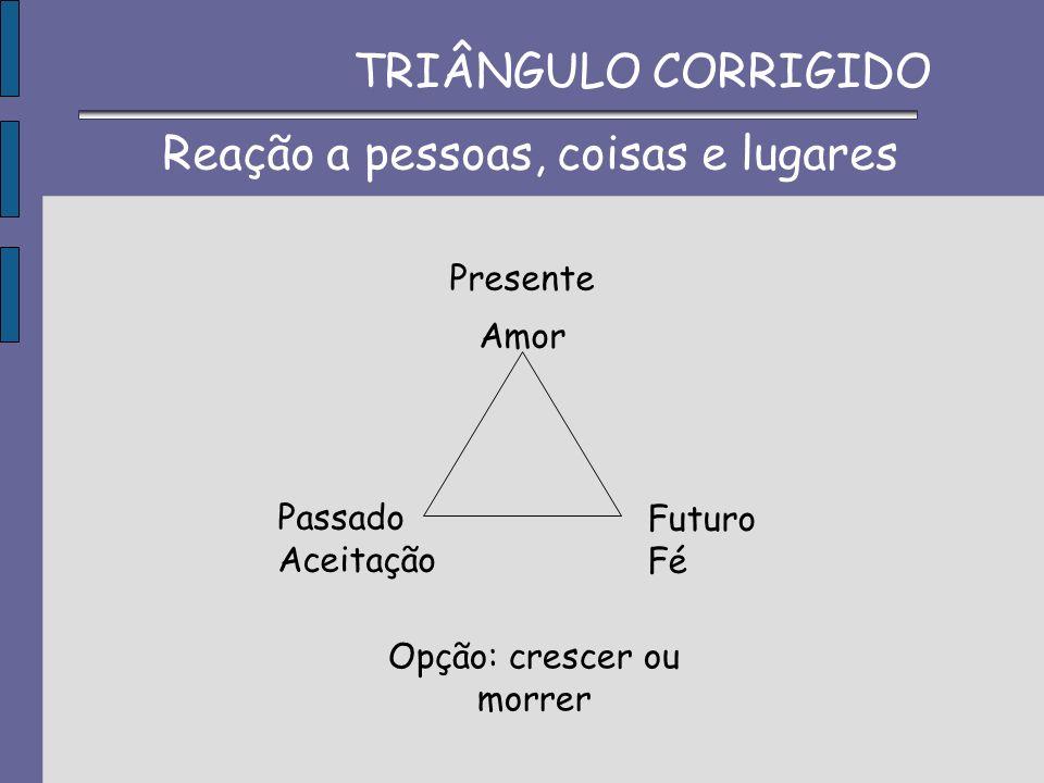 Presente Amor Passado Aceitação Futuro Fé Opção: crescer ou morrer Reação a pessoas, coisas e lugares TRIÂNGULO CORRIGIDO