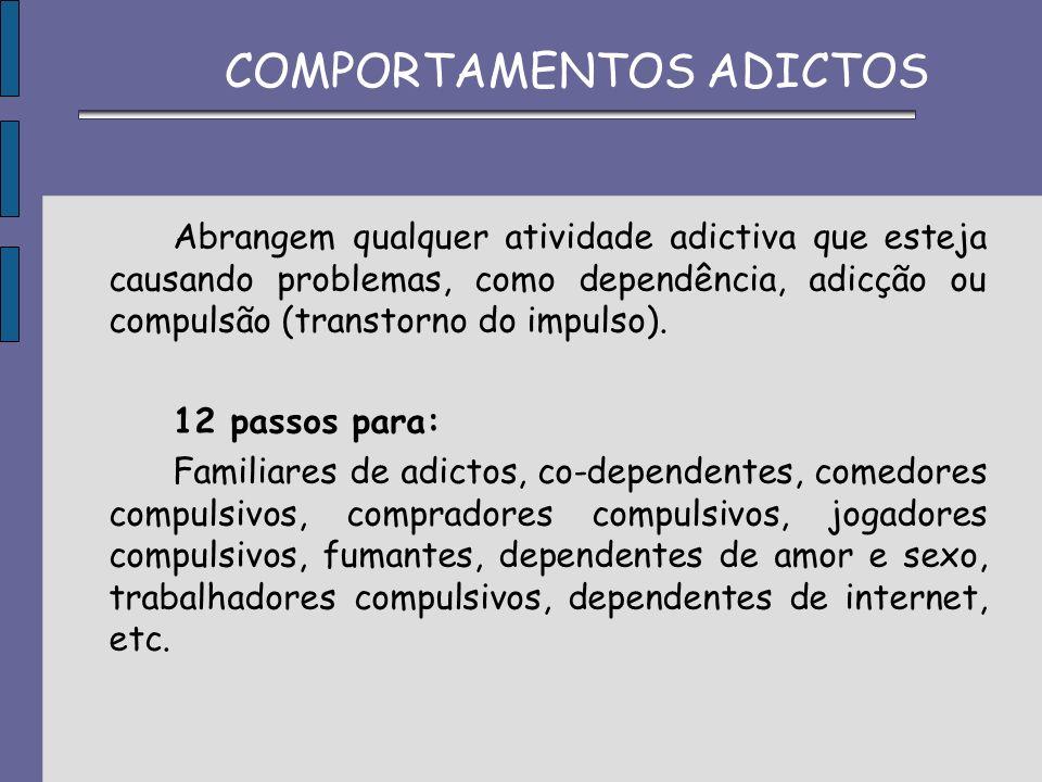 Abrangem qualquer atividade adictiva que esteja causando problemas, como dependência, adicção ou compulsão (transtorno do impulso). 12 passos para: Fa
