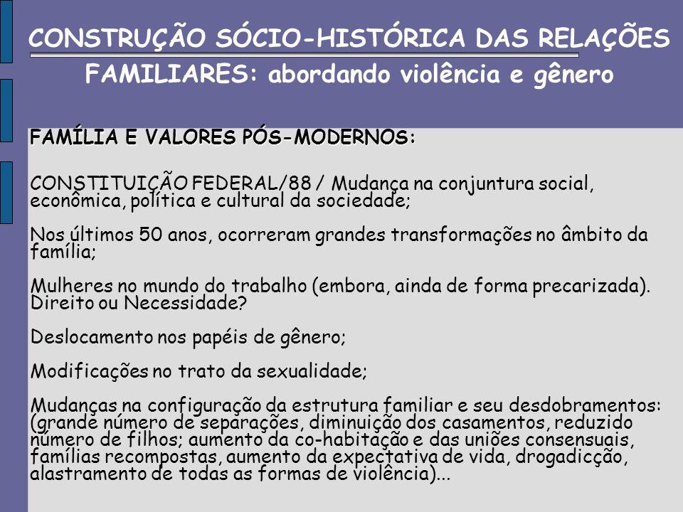 FAMÍLIA E VALORES PÓS-MODERNOS: CONSTITUIÇÃO FEDERAL/88 / Mudança na conjuntura social, econômica, política e cultural da sociedade; Nos últimos 50 an
