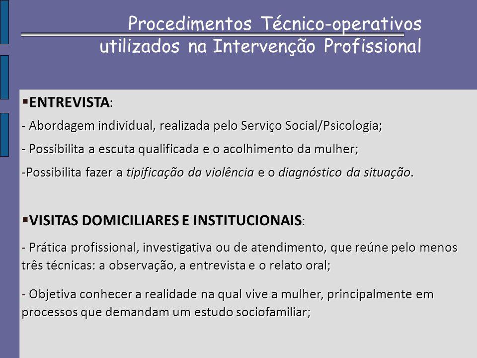ENTREVISTA : Abordagem individual, realizada pelo Serviço Social/Psicologia; - Abordagem individual, realizada pelo Serviço Social/Psicologia; - Possi