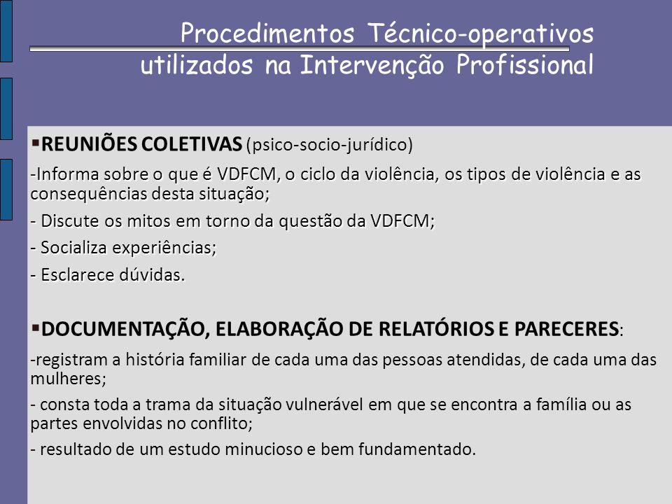REUNIÕES COLETIVAS (psico-socio-jurídico) -Informa sobre o que é VDFCM, o ciclo da violência, os tipos de violência e as consequências desta situação;