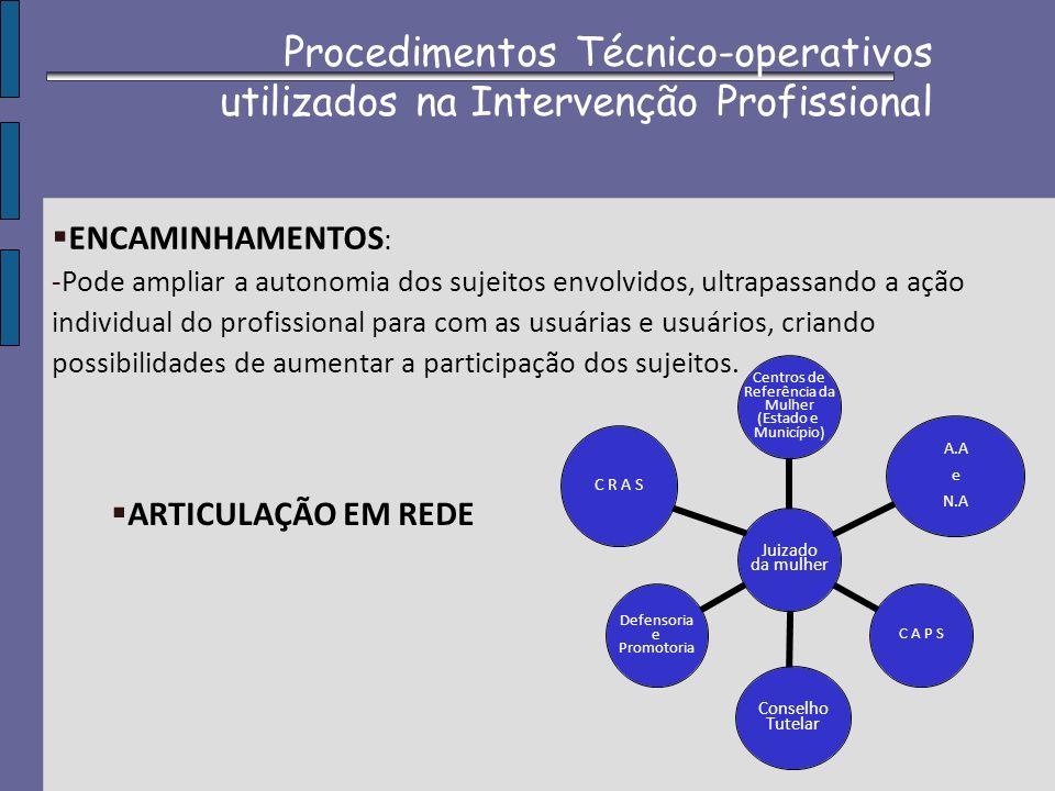 Procedimentos Técnico-operativos utilizados na Intervenção Profissional ENCAMINHAMENTOS : -Pode ampliar a autonomia dos sujeitos envolvidos, ultrapass