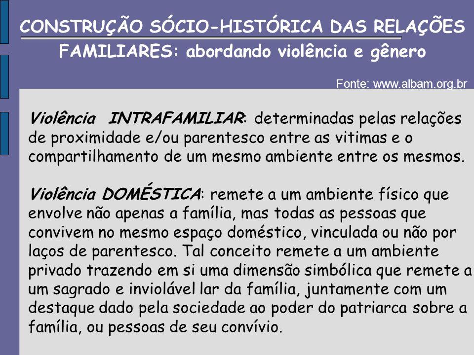 Violência de GÊNERO: diz da violência exercida a partir de relações de poder e soberania onde o agressor é detentor de poder dentro de uma determinada relação hierárquica.