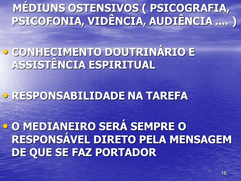 15 MÉDIUNS OSTENSIVOS ( PSICOGRAFIA, PSICOFONIA, VIDÊNCIA, AUDIÊNCIA.... ) MÉDIUNS OSTENSIVOS ( PSICOGRAFIA, PSICOFONIA, VIDÊNCIA, AUDIÊNCIA.... ) CON