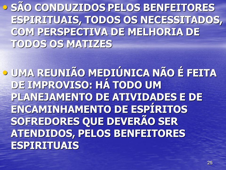 25 SÃO CONDUZIDOS PELOS BENFEITORES ESPIRITUAIS, TODOS OS NECESSITADOS, COM PERSPECTIVA DE MELHORIA DE TODOS OS MATIZES SÃO CONDUZIDOS PELOS BENFEITOR