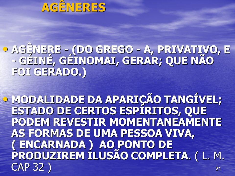 21 AGÊNERES AGÊNERES AGÊNERE - (DO GREGO - A, PRIVATIVO, E - GÉINÉ, GÉINOMAI, GERAR; QUE NÃO FOI GERADO.) AGÊNERE - (DO GREGO - A, PRIVATIVO, E - GÉIN