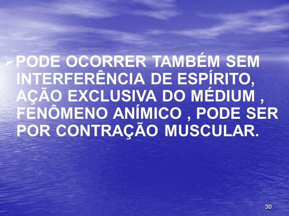 30 PODE OCORRER TAMBÉM SEM INTERFERÊNCIA DE ESPÍRITO, AÇÃO EXCLUSIVA DO MÉDIUM, FENÔMENO ANÍMICO, PODE SER POR CONTRAÇÃO MUSCULAR.