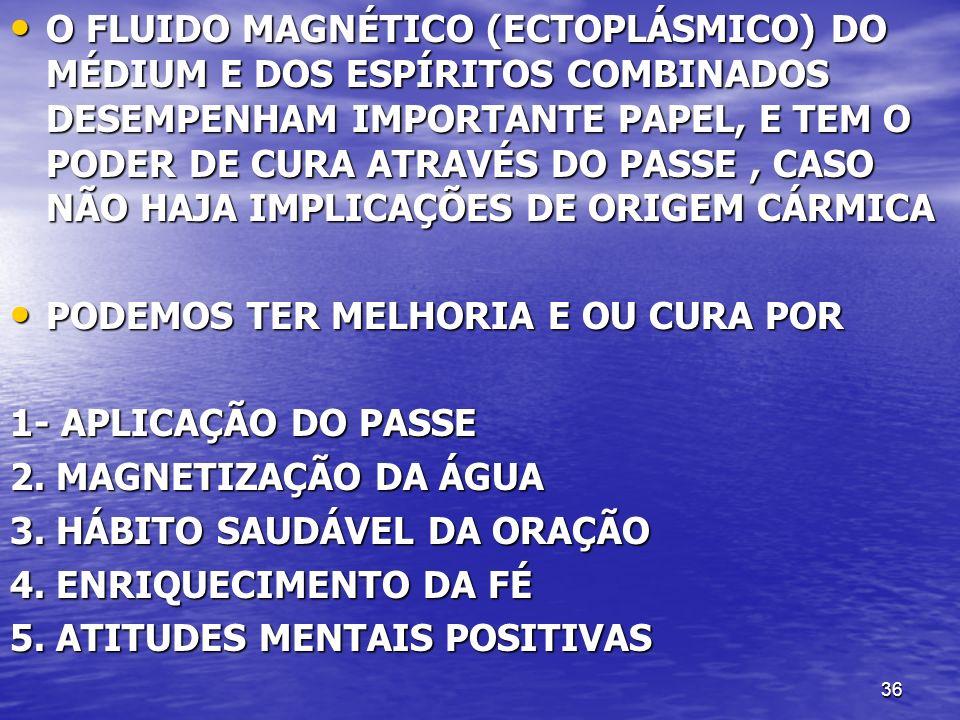 36 O FLUIDO MAGNÉTICO (ECTOPLÁSMICO) DO MÉDIUM E DOS ESPÍRITOS COMBINADOS DESEMPENHAM IMPORTANTE PAPEL, E TEM O PODER DE CURA ATRAVÉS DO PASSE, CASO N