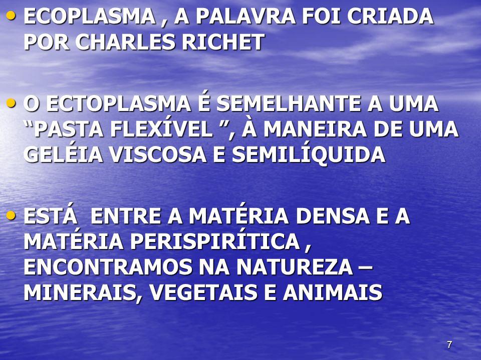 7 ECOPLASMA, A PALAVRA FOI CRIADA POR CHARLES RICHET ECOPLASMA, A PALAVRA FOI CRIADA POR CHARLES RICHET O ECTOPLASMA É SEMELHANTE A UMA PASTA FLEXÍVEL