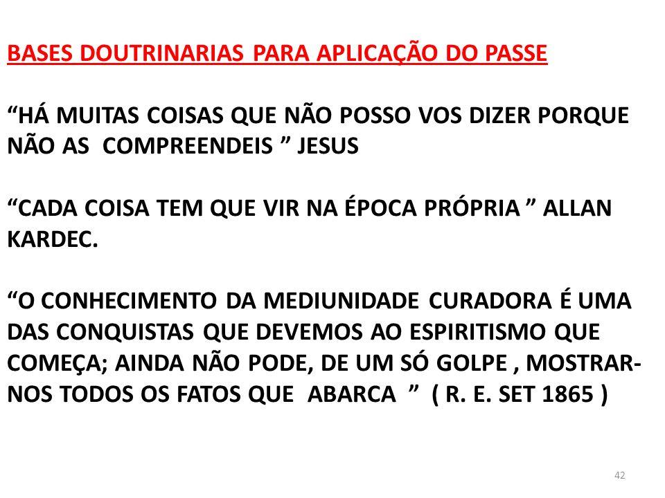 42 BASES DOUTRINARIAS PARA APLICAÇÃO DO PASSE HÁ MUITAS COISAS QUE NÃO POSSO VOS DIZER PORQUE NÃO AS COMPREENDEIS JESUS CADA COISA TEM QUE VIR NA ÉPOC