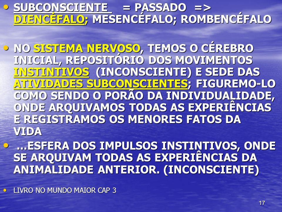 17 SUBCONSCIENTE = PASSADO => DIENCÉFALO; MESENCÉFALO; ROMBENCÉFALO SUBCONSCIENTE = PASSADO => DIENCÉFALO; MESENCÉFALO; ROMBENCÉFALO NO SISTEMA NERVOS
