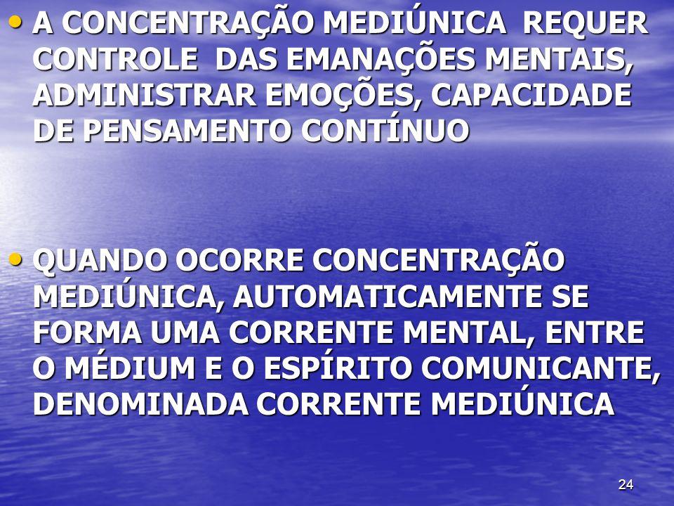 24 A CONCENTRAÇÃO MEDIÚNICA REQUER CONTROLE DAS EMANAÇÕES MENTAIS, ADMINISTRAR EMOÇÕES, CAPACIDADE DE PENSAMENTO CONTÍNUO A CONCENTRAÇÃO MEDIÚNICA REQ