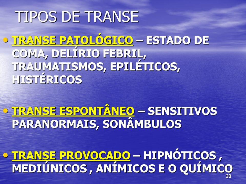28 TIPOS DE TRANSE TRANSE PATOLÓGICO – ESTADO DE COMA, DELÍRIO FEBRIL, TRAUMATISMOS, EPILÉTICOS, HISTÉRICOS TRANSE PATOLÓGICO – ESTADO DE COMA, DELÍRI