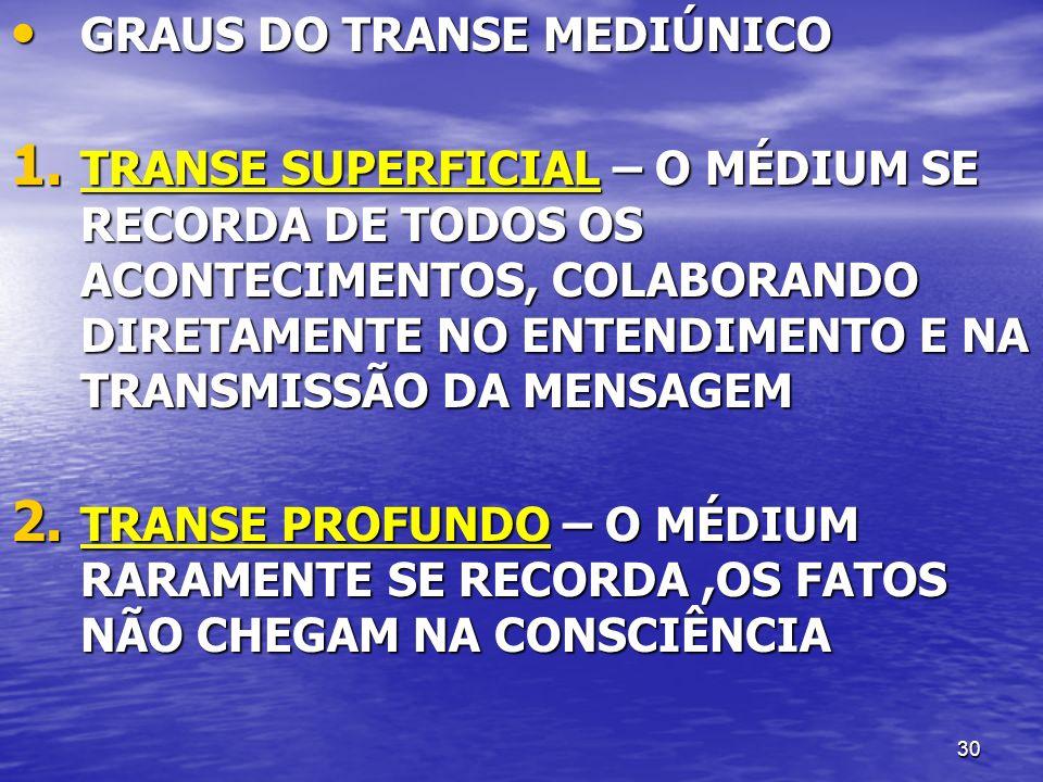 30 GRAUS DO TRANSE MEDIÚNICO GRAUS DO TRANSE MEDIÚNICO 1. TRANSE SUPERFICIAL – O MÉDIUM SE RECORDA DE TODOS OS ACONTECIMENTOS, COLABORANDO DIRETAMENTE
