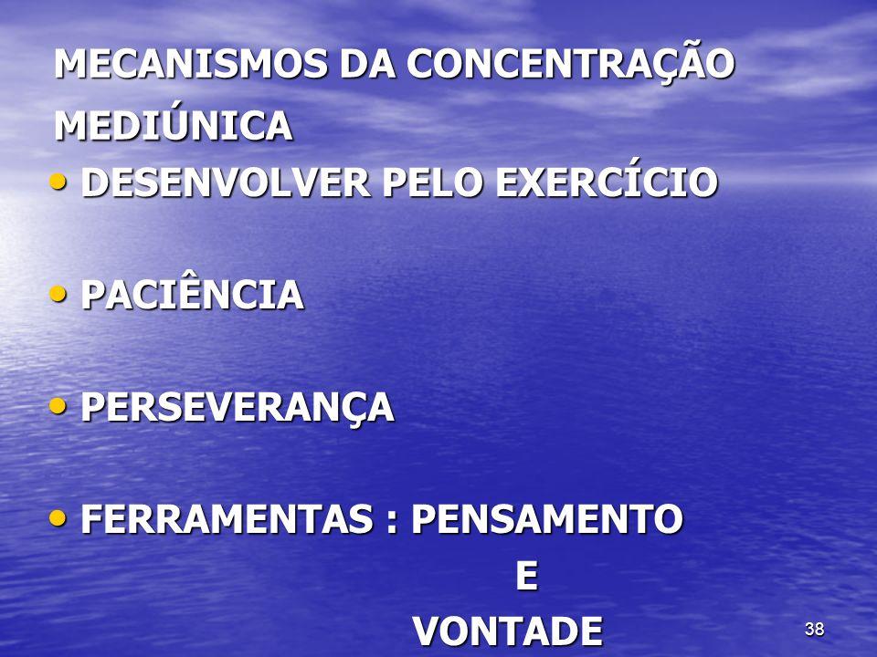 38 MECANISMOS DA CONCENTRAÇÃO MEDIÚNICA DESENVOLVER PELO EXERCÍCIO DESENVOLVER PELO EXERCÍCIO PACIÊNCIA PACIÊNCIA PERSEVERANÇA PERSEVERANÇA FERRAMENTA