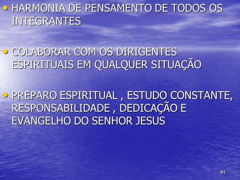 41 HARMONIA DE PENSAMENTO DE TODOS OS INTEGRANTES HARMONIA DE PENSAMENTO DE TODOS OS INTEGRANTES COLABORAR COM OS DIRIGENTES ESPIRITUAIS EM QUALQUER S