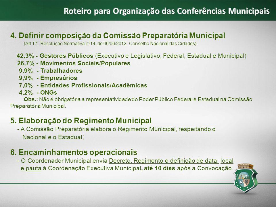 4. Definir composição da Comissão Preparatória Municipal (Art.17, Resolução Normativa nº14, de 06/06/2012, Conselho Nacional das Cidades) 42,3% - Gest