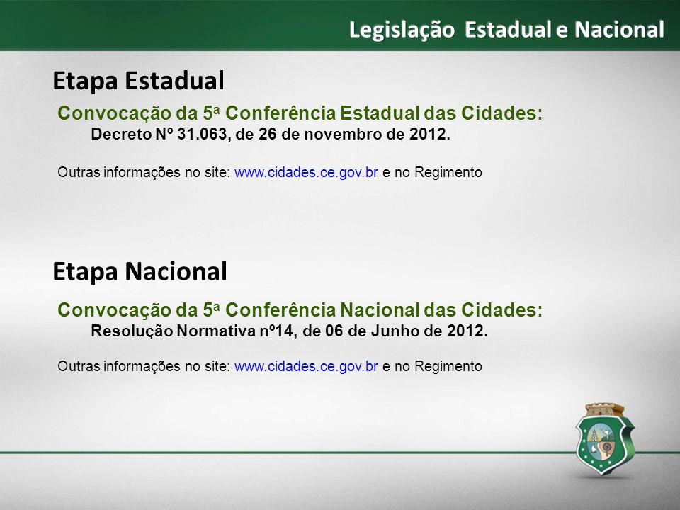 Convocação da 5 a Conferência Estadual das Cidades: Decreto Nº 31.063, de 26 de novembro de 2012. Outras informações no site: www.cidades.ce.gov.br e