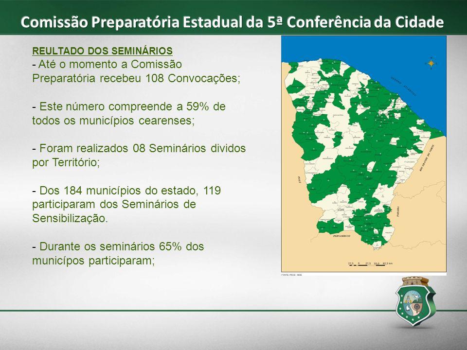 REULTADO DOS SEMINÁRIOS - Até o momento a Comissão Preparatória recebeu 108 Convocações; - Este número compreende a 59% de todos os municípios cearens
