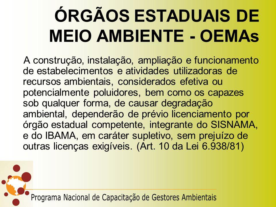 ÓRGÃOS ESTADUAIS DE MEIO AMBIENTE - OEMAs A construção, instalação, ampliação e funcionamento de estabelecimentos e atividades utilizadoras de recurso