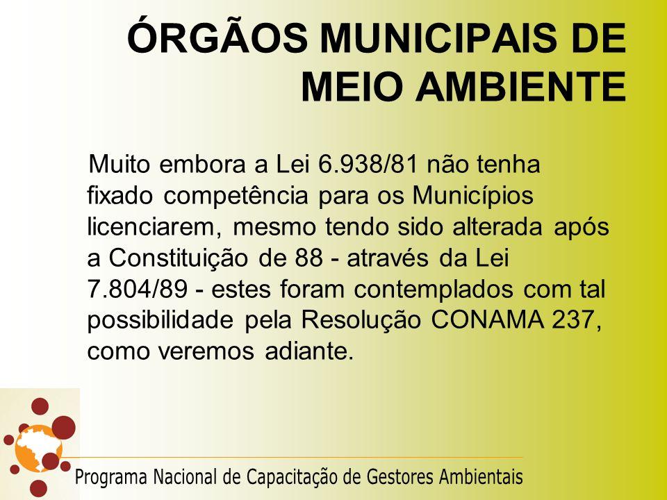 ÓRGÃOS MUNICIPAIS DE MEIO AMBIENTE Muito embora a Lei 6.938/81 não tenha fixado competência para os Municípios licenciarem, mesmo tendo sido alterada