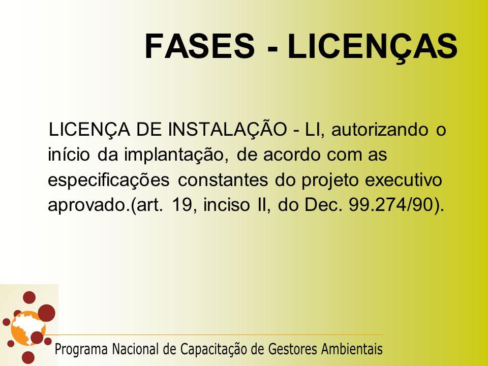 FASES - LICENÇAS LICENÇA DE INSTALAÇÃO - LI, autorizando o início da implantação, de acordo com as especificações constantes do projeto executivo apro