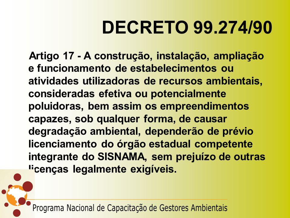 DECRETO 99.274/90 Artigo 17 - A construção, instalação, ampliação e funcionamento de estabelecimentos ou atividades utilizadoras de recursos ambientai