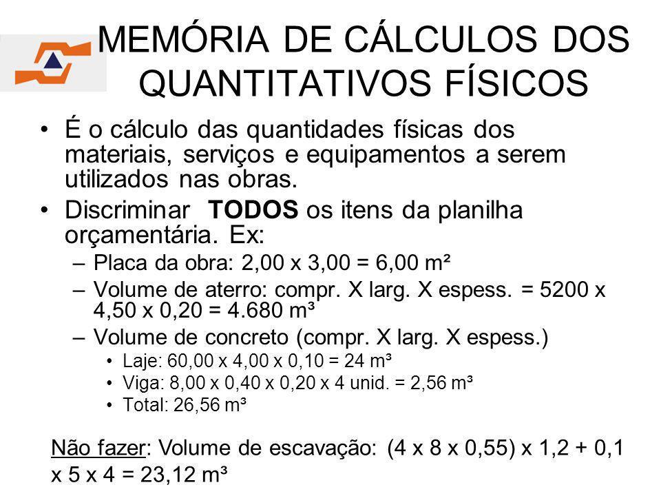 MEMÓRIA DE CÁLCULOS DOS QUANTITATIVOS FÍSICOS É o cálculo das quantidades físicas dos materiais, serviços e equipamentos a serem utilizados nas obras.
