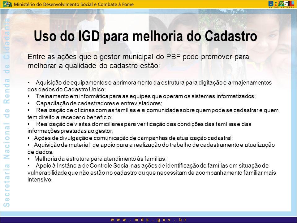 Uso do IGD para melhoria do Cadastro Entre as ações que o gestor municipal do PBF pode promover para melhorar a qualidade do cadastro estão: Aquisição