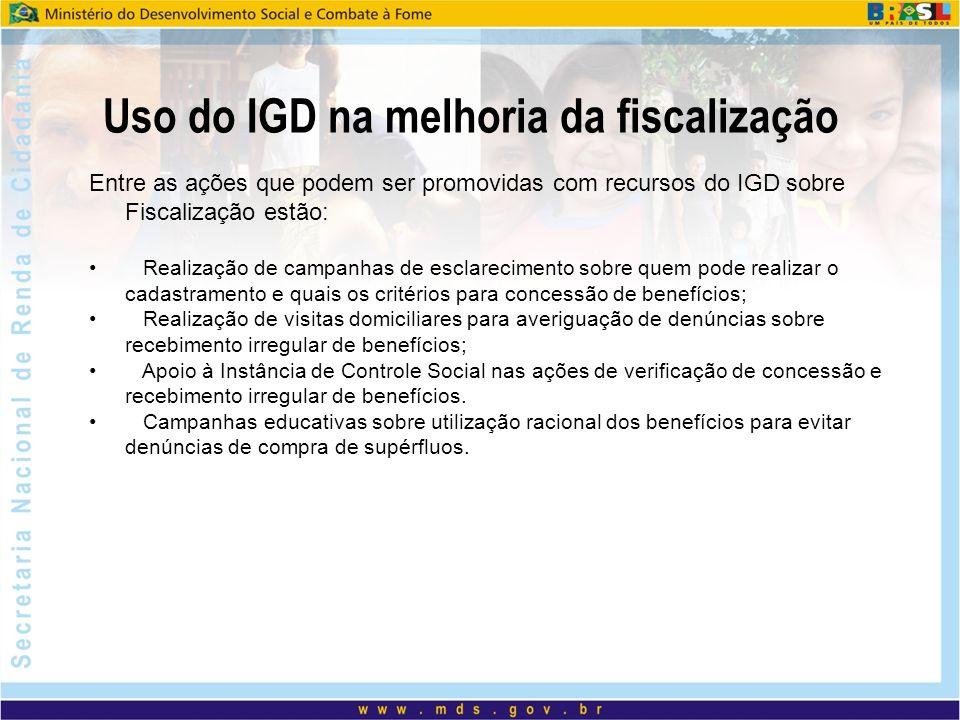 Uso do IGD na melhoria da fiscalização Entre as ações que podem ser promovidas com recursos do IGD sobre Fiscalização estão: Realização de campanhas d