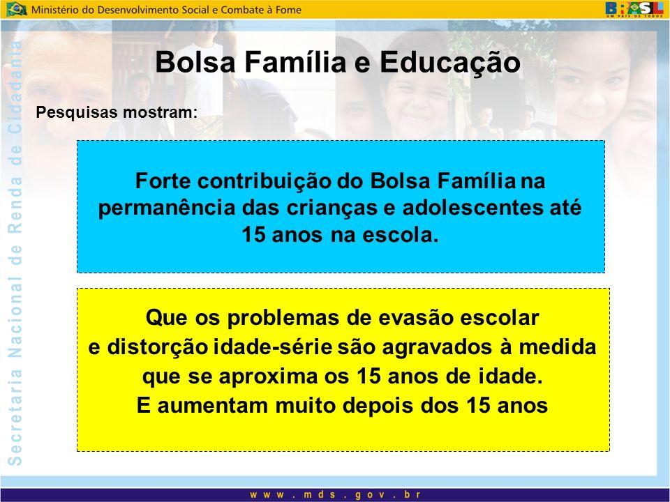Bolsa Família e Educação Forte contribuição do Bolsa Família na permanência das crianças e adolescentes até 15 anos na escola. Que os problemas de eva