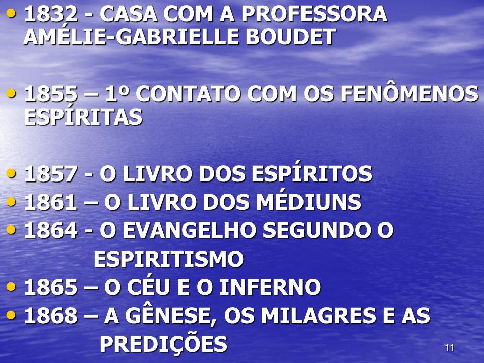 11 1832 - CASA COM A PROFESSORA AMÉLIE-GABRIELLE BOUDET 1832 - CASA COM A PROFESSORA AMÉLIE-GABRIELLE BOUDET 1855 – 1º CONTATO COM OS FENÔMENOS ESPÍRI