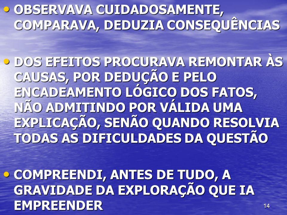 14 OBSERVAVA CUIDADOSAMENTE, COMPARAVA, DEDUZIA CONSEQUÊNCIAS OBSERVAVA CUIDADOSAMENTE, COMPARAVA, DEDUZIA CONSEQUÊNCIAS DOS EFEITOS PROCURAVA REMONTA