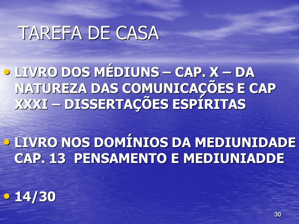 30 TAREFA DE CASA LIVRO DOS MÉDIUNS – CAP. X – DA NATUREZA DAS COMUNICAÇÕES E CAP XXXI – DISSERTAÇÕES ESPÍRITAS LIVRO DOS MÉDIUNS – CAP. X – DA NATURE