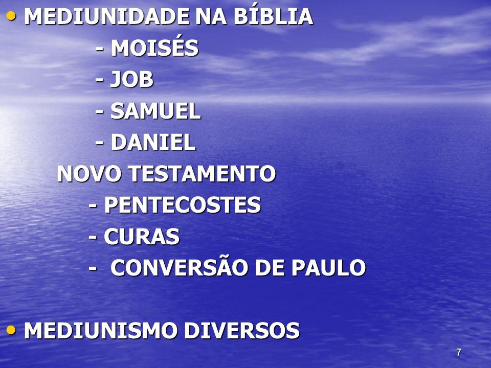 7 MEDIUNIDADE NA BÍBLIA MEDIUNIDADE NA BÍBLIA - MOISÉS - MOISÉS - JOB - JOB - SAMUEL - SAMUEL - DANIEL - DANIEL NOVO TESTAMENTO NOVO TESTAMENTO - PENT