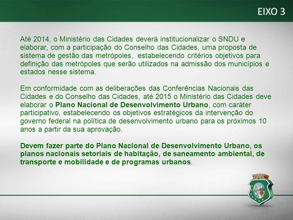 Até 2014, o Ministério das Cidades deverá institucionalizar o SNDU e elaborar, com a participação do Conselho das Cidades, uma proposta de sistema de gestão das metrópoles, estabelecendo critérios objetivos para definição das metrópoles que serão utilizados na admissão dos municípios e estados nesse sistema.